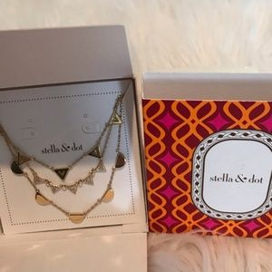 GOLD New Stella & Dot Pave Chevron Necklace